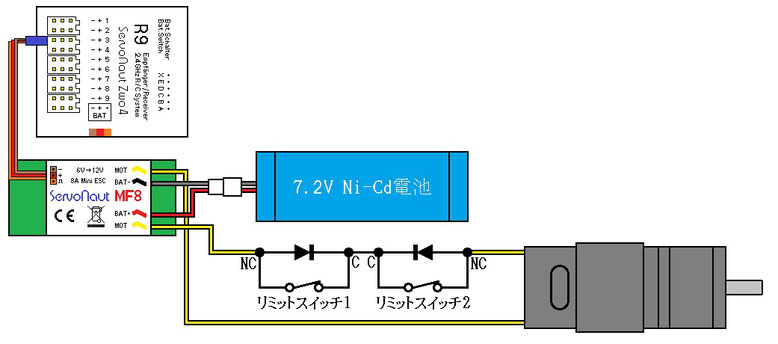 Servonaut MF8でダンプ用モーターをコントロールする回路例
