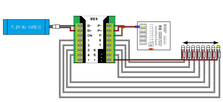 BE8 点滅パターン5用回路例