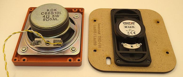 タミヤ製スピーカー(左)とServonaut社製スピーカー(右)