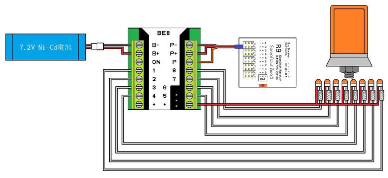 BE8 点滅パターン3用回路例