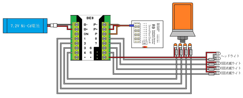 BE8 点滅パターン2用回路例