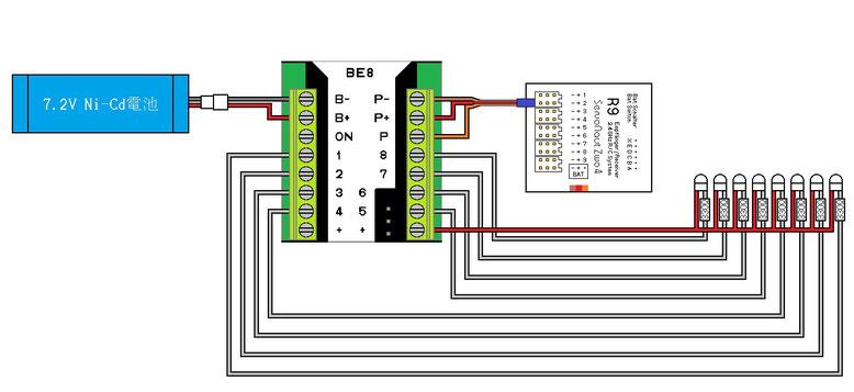 BE8 点滅パターン8用回路例