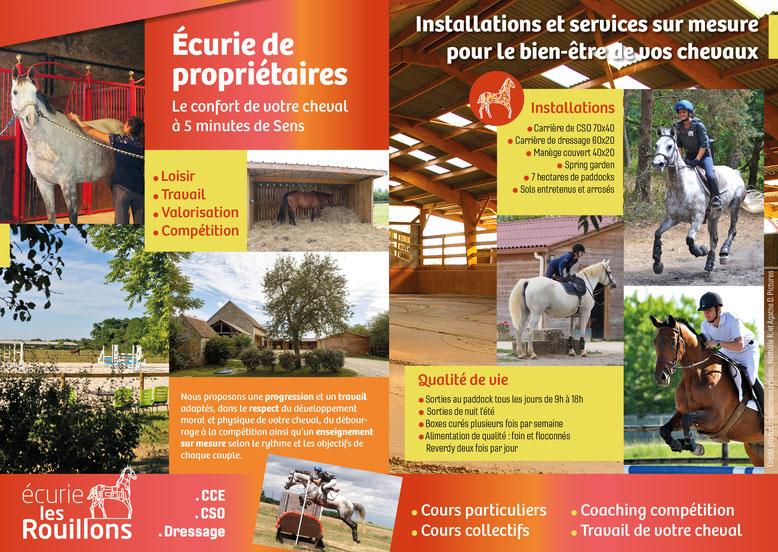 Tarifs des pensions pour chevaux, Ecurie de propriétaires, Les Rouillons, Sens 89
