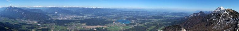 Von Links beginnend mit  Dobratsch, Villach, Gerlitzen , Faakersee, Wörthersee, Mittagskogel und Schwarzkogel
