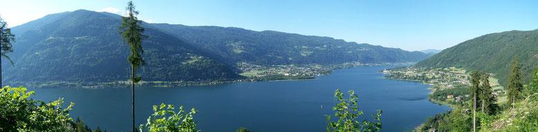 Panorama mit See, Bodensdorf und Gerlitzen