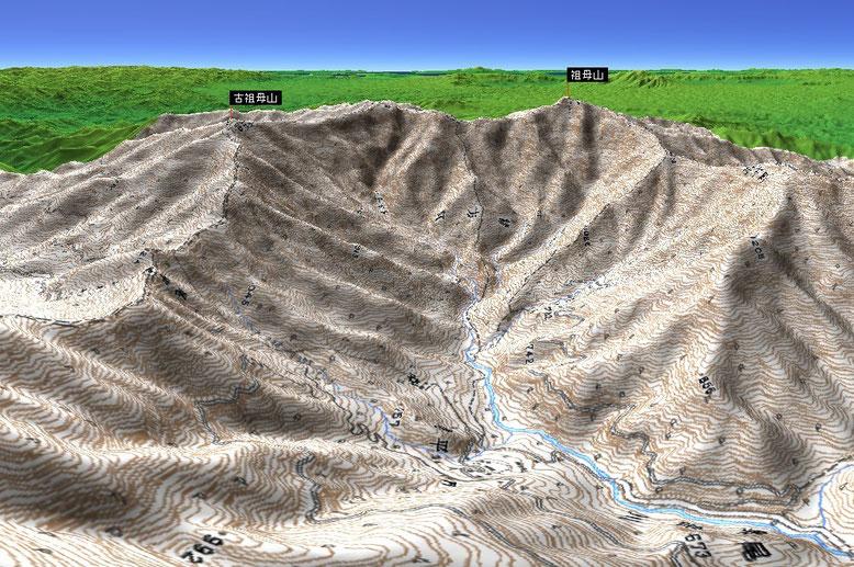 祖母山を東側から見たパノラマ図