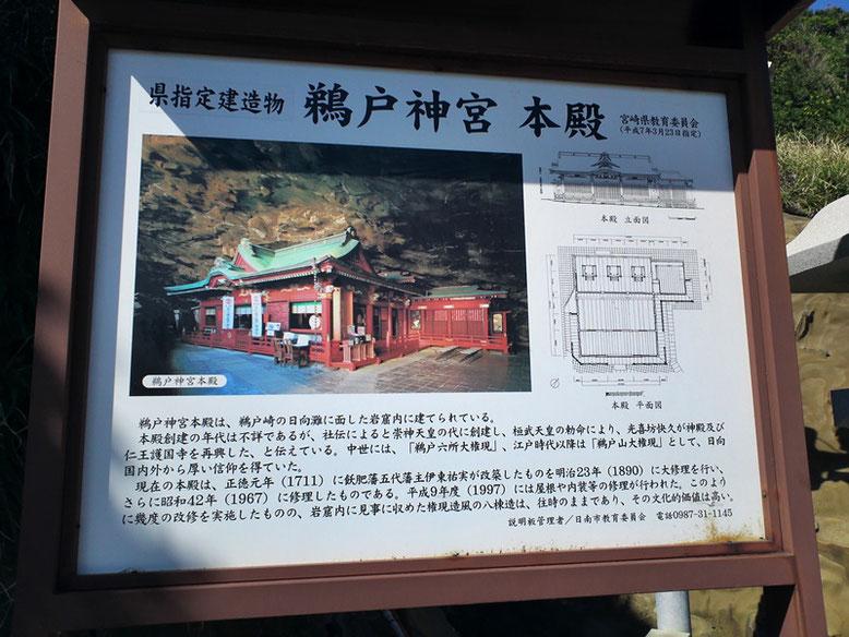 鵜戸神宮本殿に関する説明板の写真