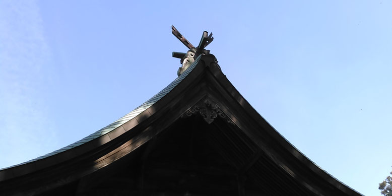 與止日女神社本殿の千木の写真