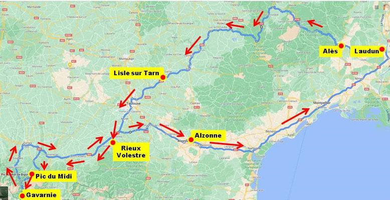 En raison du passage du Tour de France vers Ste Affrique j'ai modifié mon parcours