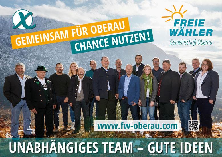 Die Gemeinderatskandidaten der Freien Wähler Gemeinschaft Oberau mit Bürgermeisterkandidat Josef Lohr
