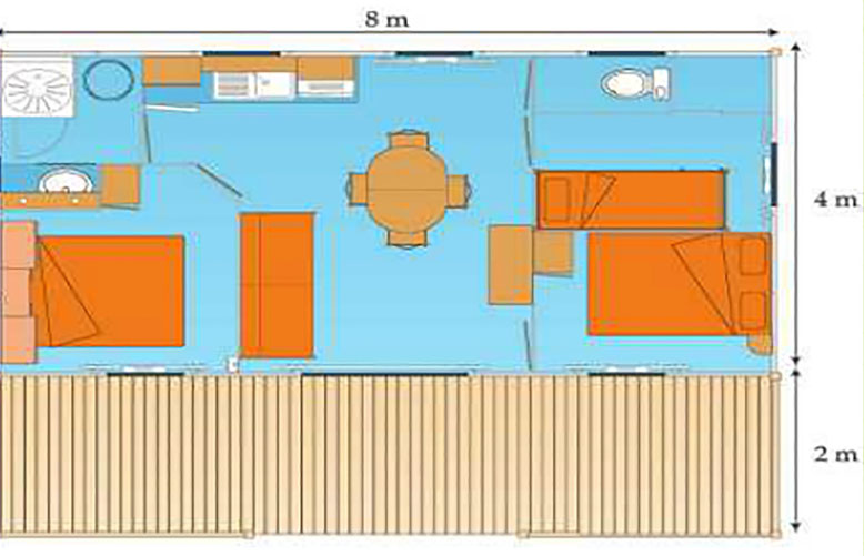 Campsite Les Saules in Cheverny - Loire Valley - The rentals - Plan of the chalets Vanilles
