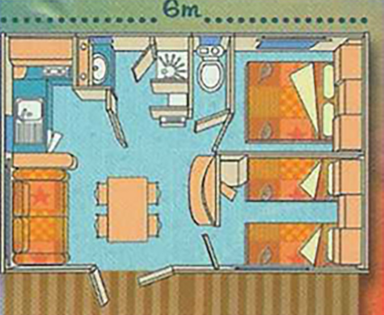 Campsite Les Saules in Cheverny - Loire Valley - The rentals - Plan of the chalets Cannelles