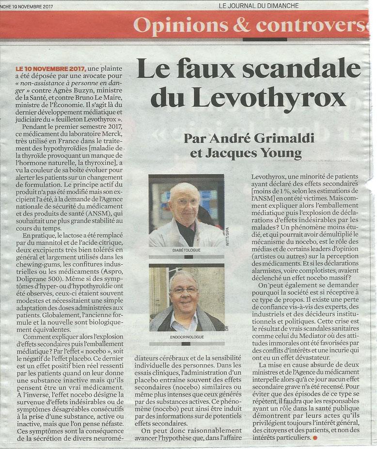 Le JDD du 19 novembre 2017 -Levothyrox
