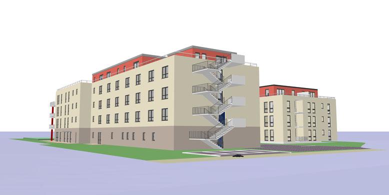 Seitenansicht der Senioren-Residenz-Pellenz und dem 11 Familienhaus (betreutes Wohnen)