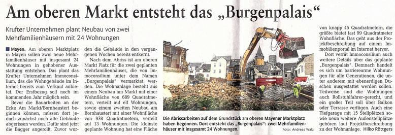 Zeitungsbericht zur Projektentwicklung am Marktplatz von Mayen (Rhein Zeitung)