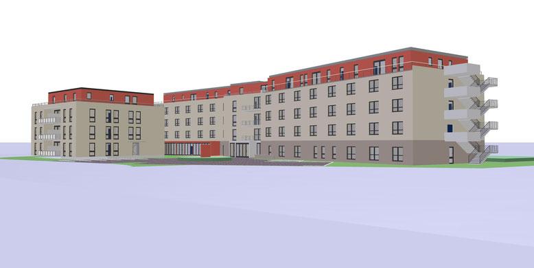 Frontansicht von der Senioren-Residenz und dem 11 Familienhaus (betreutes Wohnen)