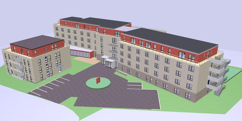 Frontansicht Senioren-Residenz-Pellenz mit 11 Familienhaus (betreutes Wohnen)