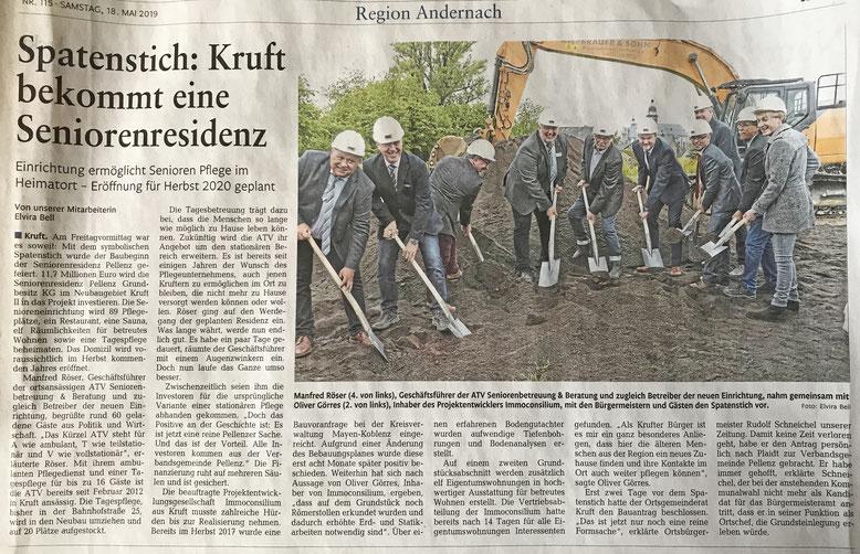 Zeitungsbericht zum Spatenstich der Senioren Residenz Pellenz in Kruft (Rhein Zeitung)