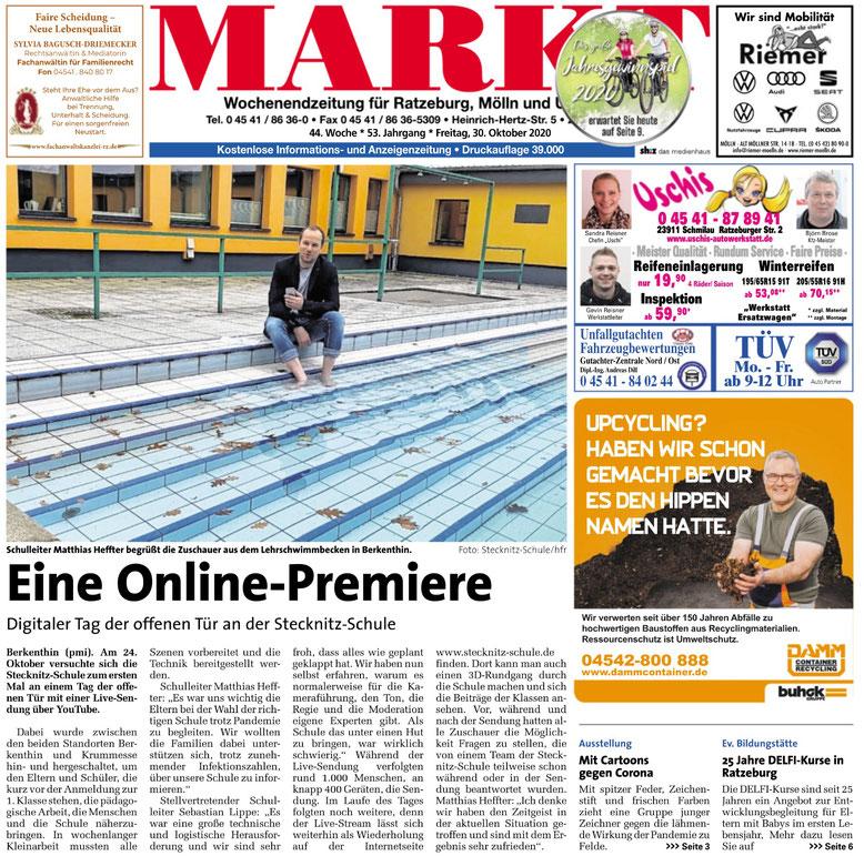 """Quelle: """"Markt"""" (Ratzeburg-Mölln) vom 30.10.2020, e-Paper"""