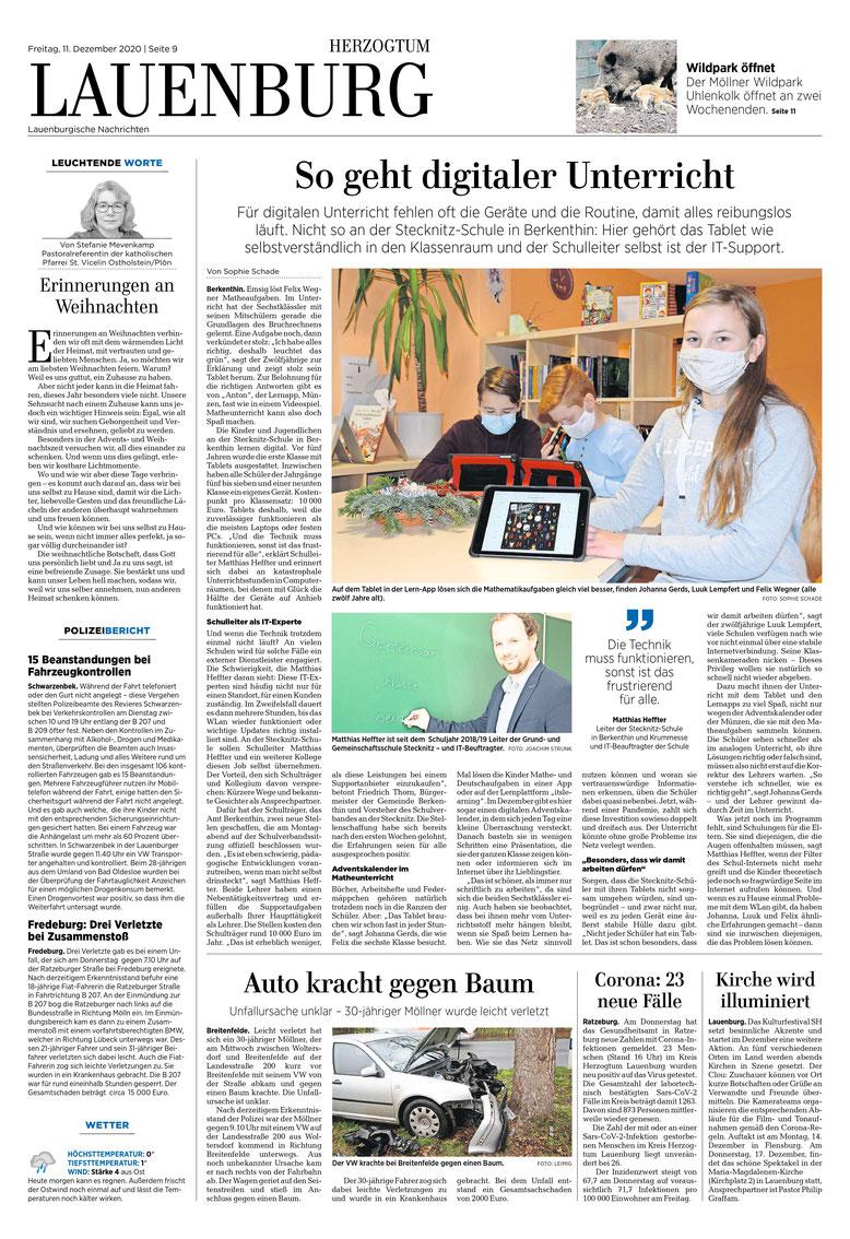 Quelle: LN (E-Paper) Lauenburg vom 11.12.20, S. 8 ; Foro und Bericht von Sophie Schade