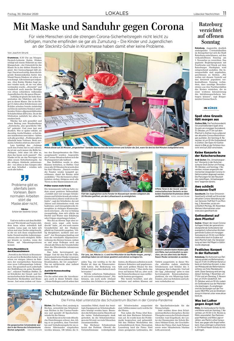 Qelle: Lübecker Nachrichten vom 30.10.2020, Fotos und Bericht von: Joachim Strunk