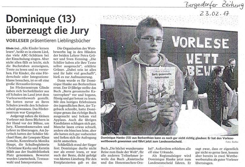 Artikel aus Bergedorfer Zeitung vom 23.02.2017, Foto und Bericht: Rutke (ru)
