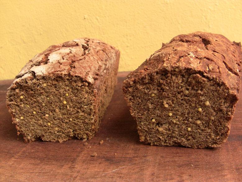 pain millet/blé noir/lupin à gauche et millet/blé noir /soja à droite