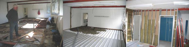März 2007: Entfernen des morschen Fußbodens  Einbau Estrich  Mai 2007: Innenausbau