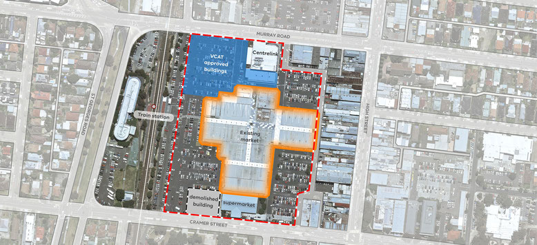 Aerial map of the Preston Market site