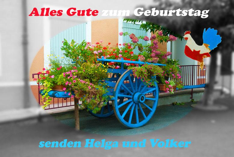 Geburtstagskarte aus Frankreich, Tricolore, Hahn, Blumen, Handwagen