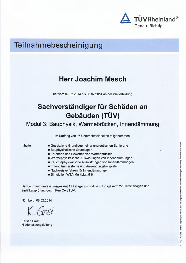 TUEV Bauphysik, Waermebruecken, Innendaemmung