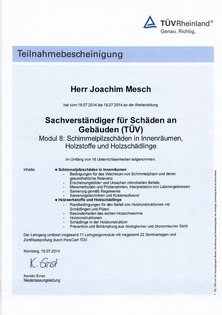TUEV Schimmelpilz, Holzstoffe, Holzschaedlinge