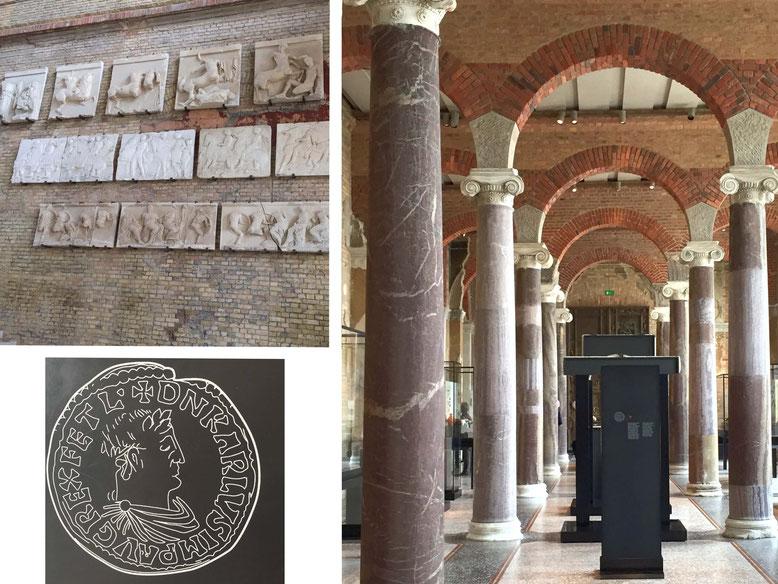 Treppenhalle Neues Museum, Mittelaltersaal, Denar Karls des Großen