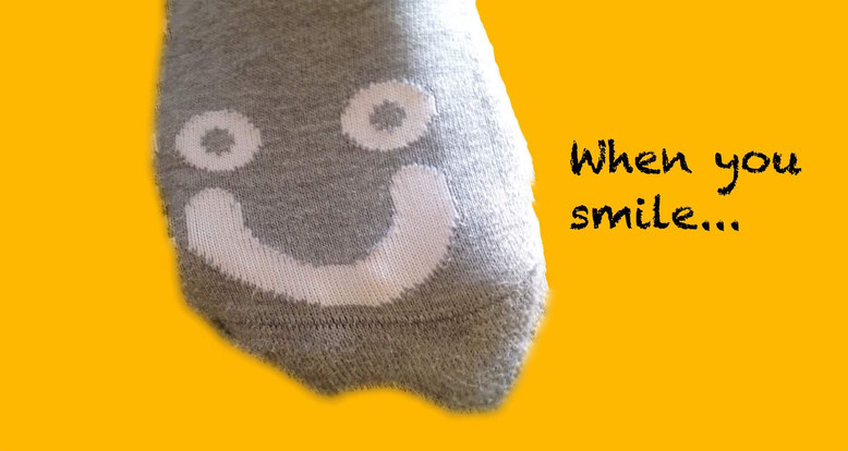 When you smile: Socke mit lächelndem Gesicht