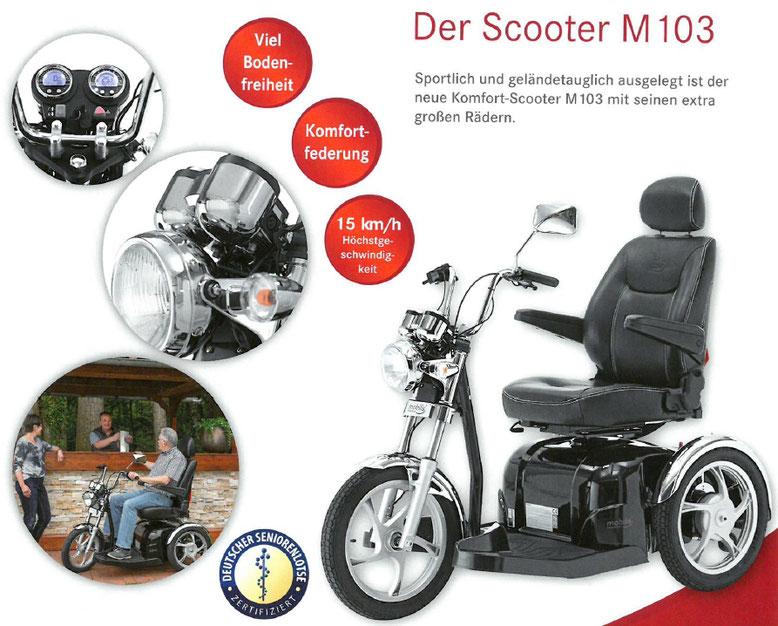 Merkmale und Sicherheitsausstattung des Mobilis M103 Elektromobils für Senioren und Behinderte