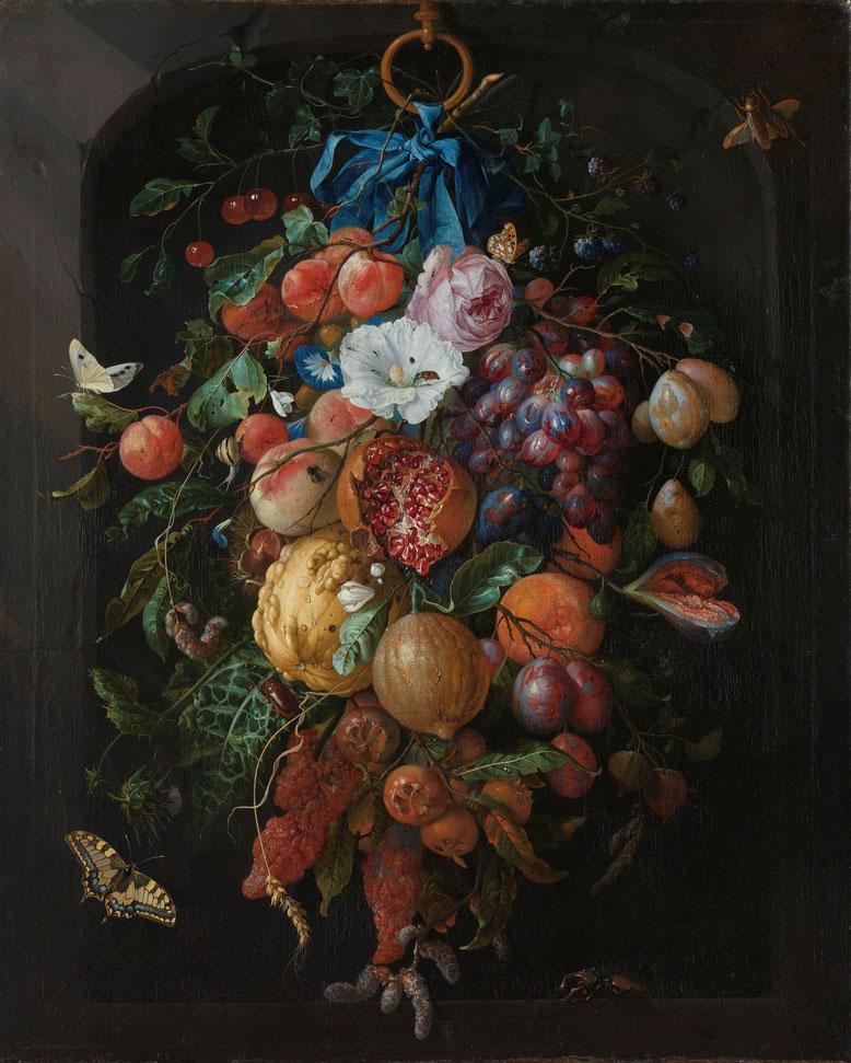 Jan Davidsz de Heem, Festone di frutta e fiori, olio su tela, 1660-1670, Rijskmuseum, Amsterdam