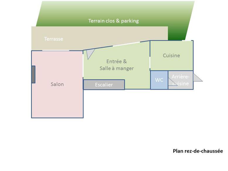 Gite des Nerleux, gîte pour 10-12 personnes dans le vignoble, location au weekend, semaine, vacances, Saumur - plan du rez-de-chaussée