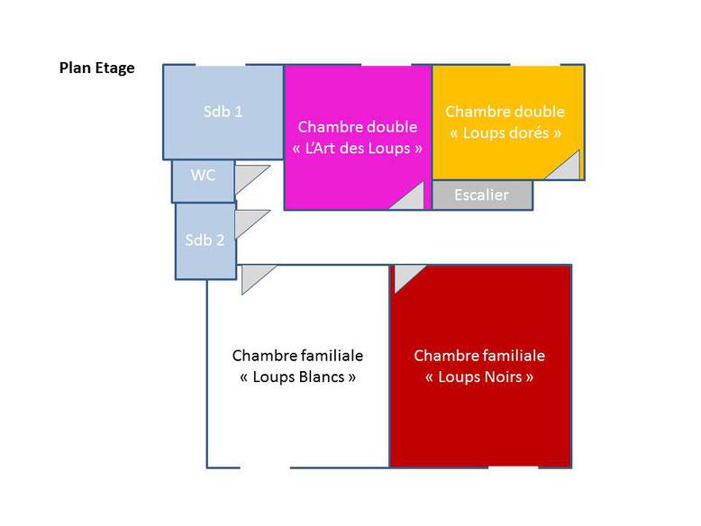 Plan de l'étage : Gîte des Nerleux, gîte pour 10-12 personnes dans le vignoble, location week-end, semaine, vacances, Saumur - plan de l'étage