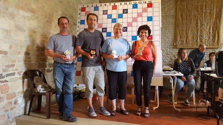 Les vainqueurs par série du TH classique : Laurent Dumont - Aurélien Delaruelle - Christine Splingard - Denise Nagy