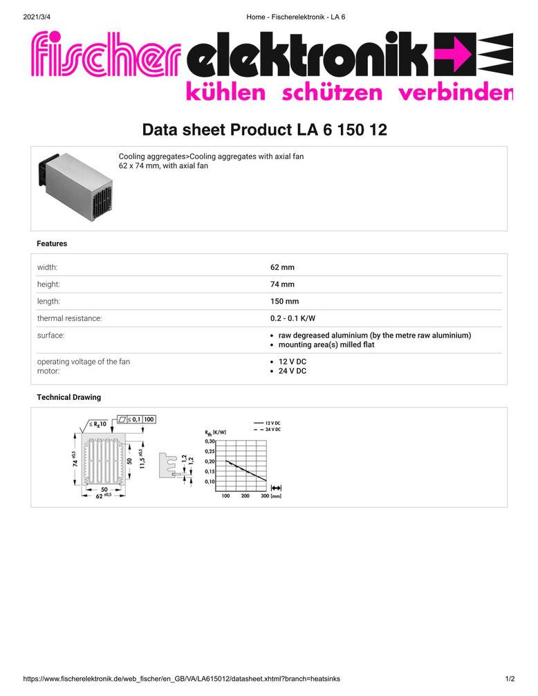LA 6 150 12 V    62 x 74 mm Fischer /フィッシャー 軸流ファン付 ヒートシンク
