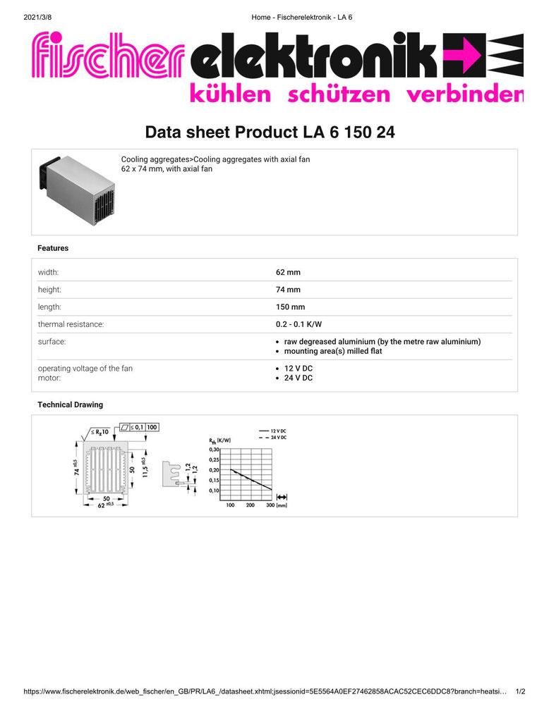 LA 6 150 24  V    62 x 74 mm Fischer /フィッシャー 軸流ファン付 ヒートシンク