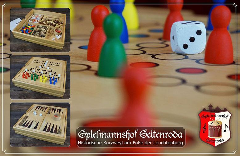 Holz Spielesammlung Klassiker Schach Dame Backgammon Barricade Halma Mensch ärgere dich nicht Mikado Domino Skat Romme Bridge