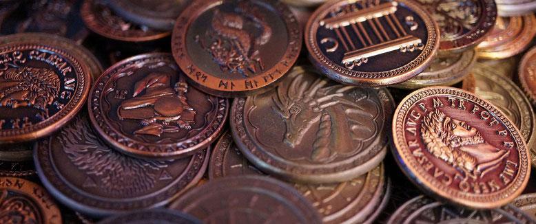 Schatz an Spielmünzen in der Spielerspelunke