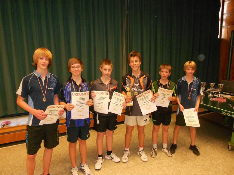 6 Konzer Nachwuchsspieler auf dem Treppchen beim Schüler-Doppel bei den Regionsmeisterschaften 2011