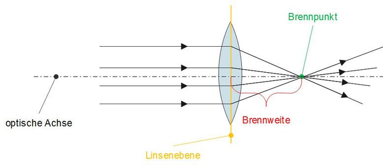 Lichtbrechung bei einer konvexen Linse mit eingezeichneter Brennweite, Linsenebene, optische Achse und Brennpunkt