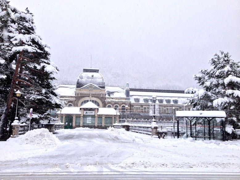 Estación de Canfranc en la actualidad tras una nevada