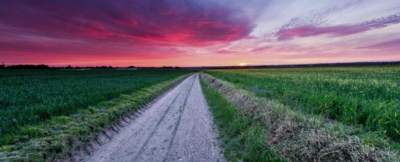 Boerenweg met zonsondergang