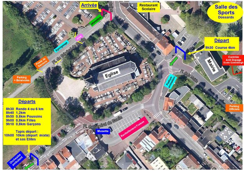 Plan d'ensemble du Village avec les Départs suivant votre course et l'arrivée