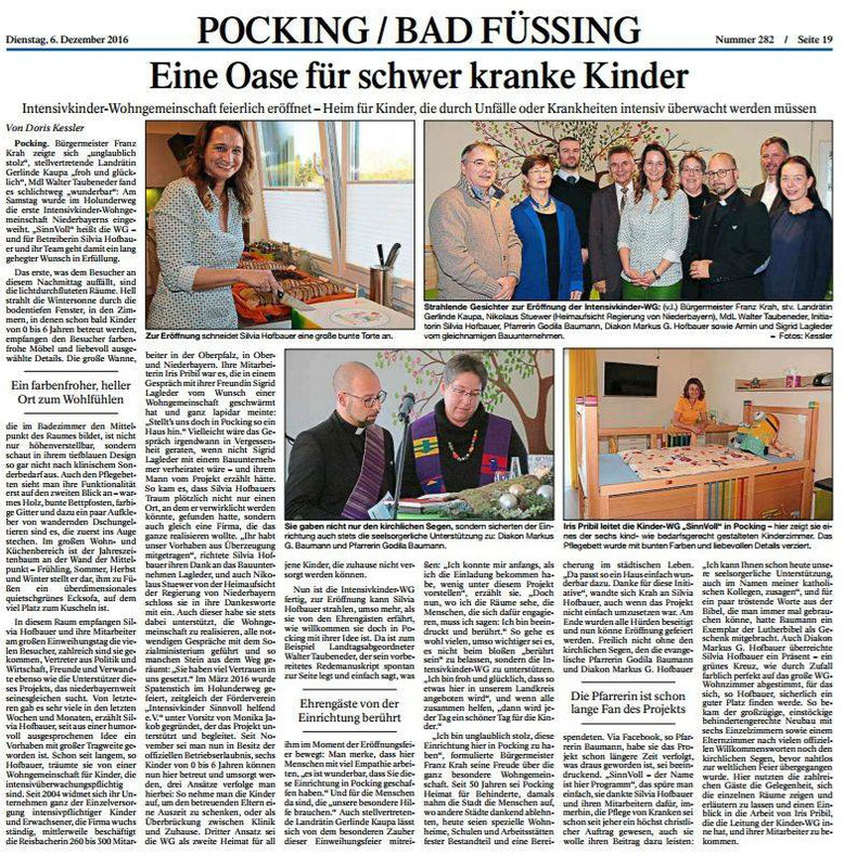 """Pressebericht zur Eröffnung der Intensivkinder-Wohngemeinschaft """"Haus SinnVoll"""" in Pocking"""