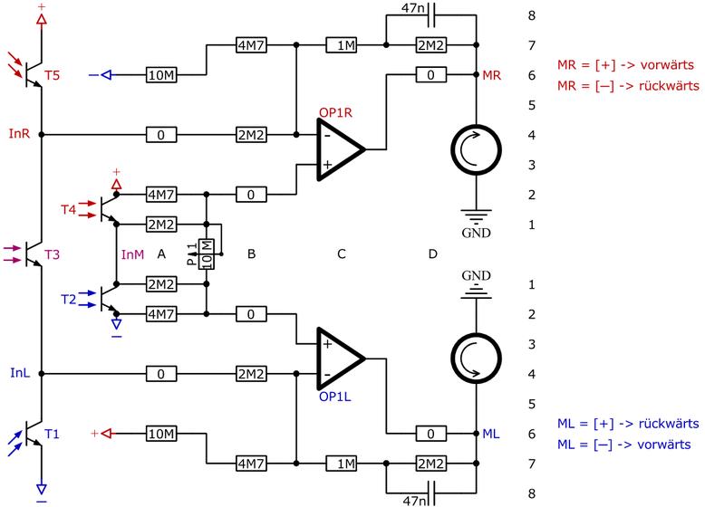 Schaltung für einen Licht- und Linienfolger mit 2 Operationsverstärker